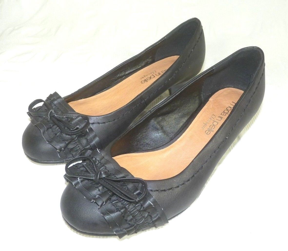 Moda In Pelle Ladies On Womens Black Court Slip On Ladies Shoes with Bow Size 34575a