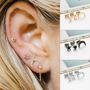 Image Is Loading Fashion Stud Earrings Set 3pcs Moon Star Heart