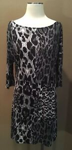 22deafb3794a OLD NAVY M T SHIRT DRESS BLACK WHITE GRAY ANIMAL PRINT 3 4 SLEEVES ...