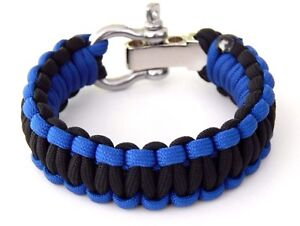 Premium Paracord Survival Bracelet Black Blue Police S/S Shackle Hand Made USA