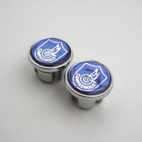 Repro Caps Campagnolo Blue Cromovelato Vintage Style Chrome Racing Bar Plugs