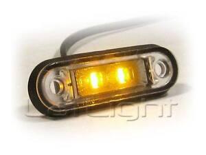 2pcs Side Marker LED Lights 12V 24V Truck Trailer Amber Position