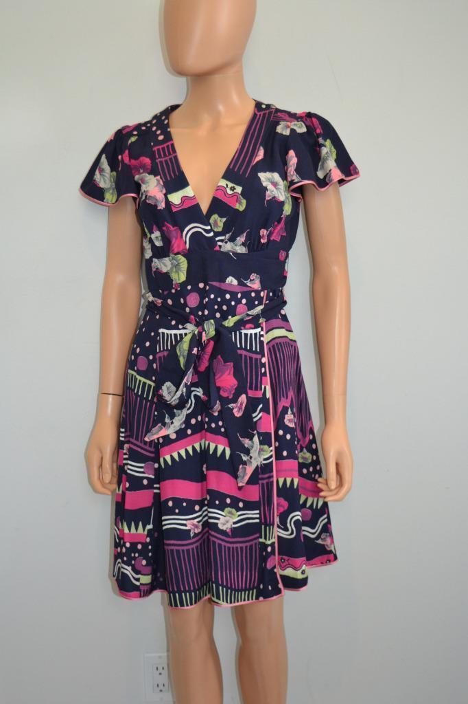 NWT Marc Jacobs 'Navy Multi Abstract Floral Print Wrap Dress, Sz 0,  795