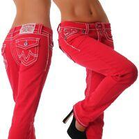 Damen Jeans stylische dicke Naht red low straight Hose Neu 34 36 38 40 42