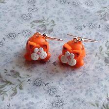 ginger cat earrings Drops Cute Handmade Xmas Gift Kitty Novelty