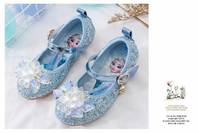 Kids Girls Princess Fancy Up Party Acrylic Crystal Elsa Princess Shoes Cosplay