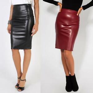 Womens-Ladies-Leather-Pencil-Skirt-Sexy-Wet-Look-Stretch-PU-Mini-Midi-Bodycon