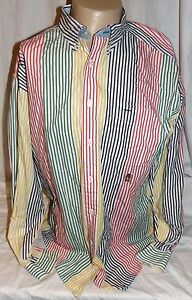 474d65560 Image is loading Vintage-Tommy-Hilfiger-Mens-XL-Striped-Green-Red-
