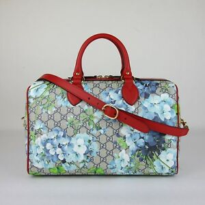 69570f6aacea Gucci Beige/Blue GG Coated Canvas Bloom Boston Top Handle Bag w/Box ...