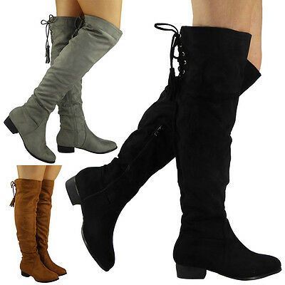 WOMENS LADIES OVER THE KNEE BOOTS CUBAN LOW HEEL LONG STRETCH LACE UP SHOES SIZE