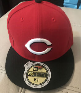 Cincinnati-Reds-New-Era-59Fifty-Black-And-Red-Fitted-Hat-Cap-Kid-039-s-Size-6-5-8