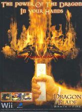 "Dragon Blade Wrath Of Fire ""Nintendo Wii"" 2007 Magazine Advert #4922"