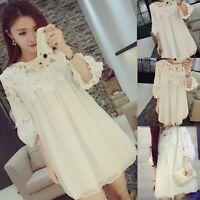 Hot Sale Loose Casual Sweet 3/4 Sleeve Fashion Women's Short Mini Chiffon Dress