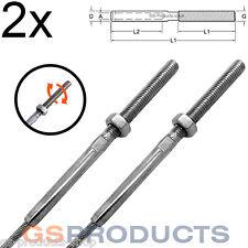 2x 8mm Acciaio Inossidabile Swage Stud Morsetto Filo di Acciaio Corda estremità filettato Free P+P