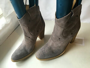 womens cowboy western ankle genuine leather shoes