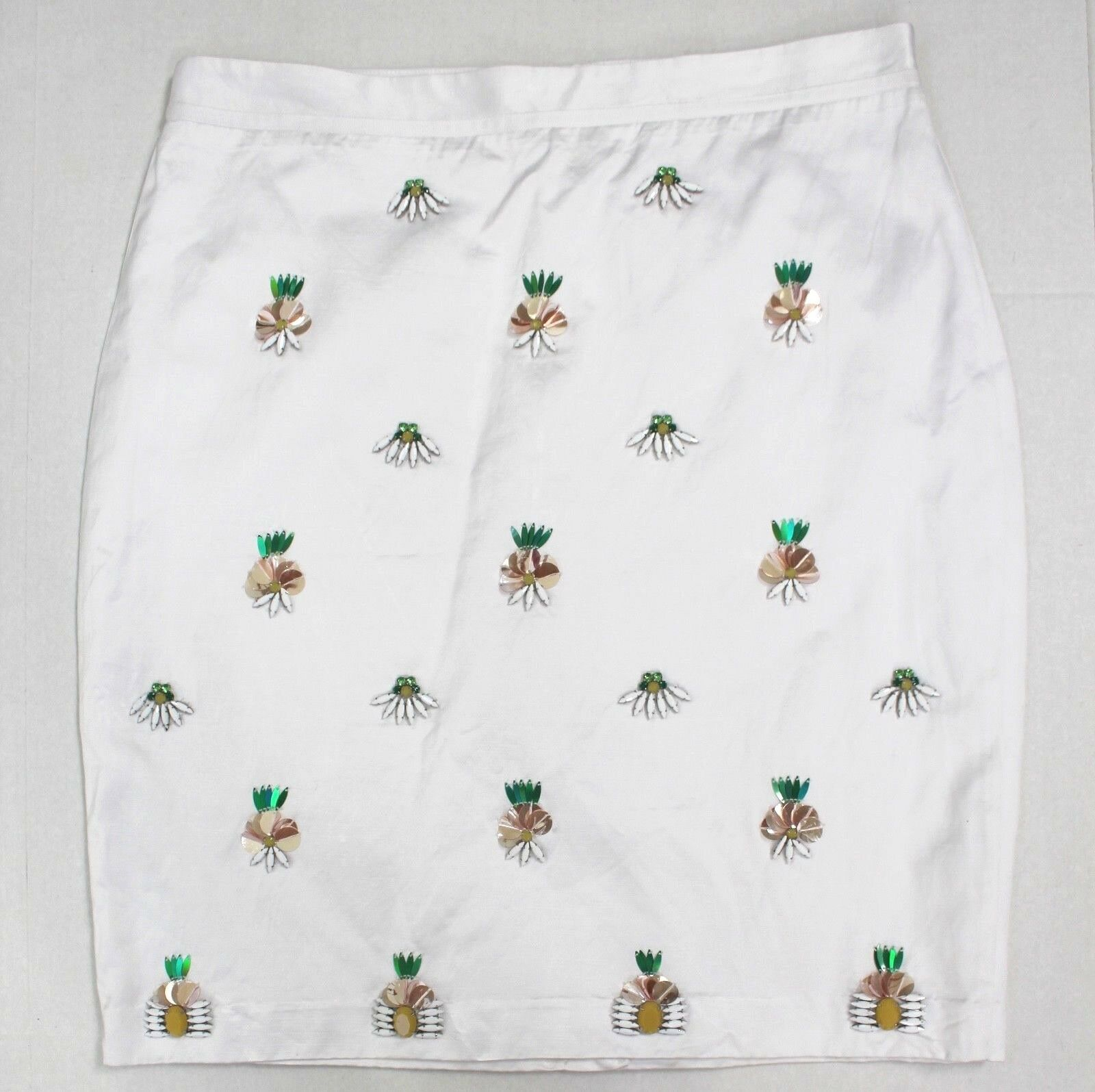 Banana Republic White Pineapple Embellished Beaded Pencil Skirt Size 12