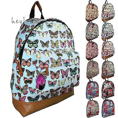 Backpack Bag Ladies Girls Print Rucksack Gym School College Campus Travel UK