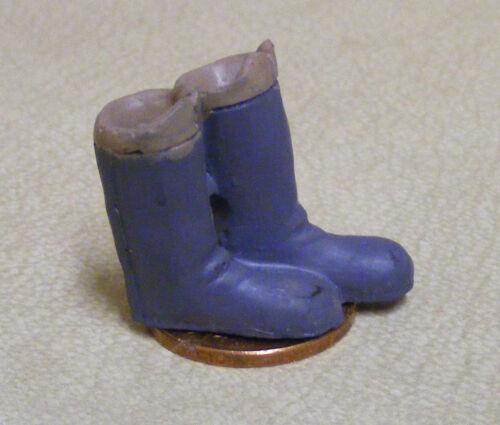 Escala 1:12 Par De Botas De Señoras Gris tumdee calzado de ropa de casa de muñecas BA7