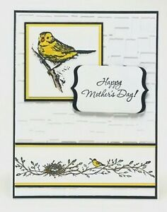 Handmade-Stampin-Up-Mother-039-s-Day-Card-Embossed-Yellow-Bird