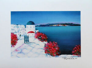 Fenech Serge : Pueblo Griego Fleuri - Litografía Original Firmada 390ex # Grecia