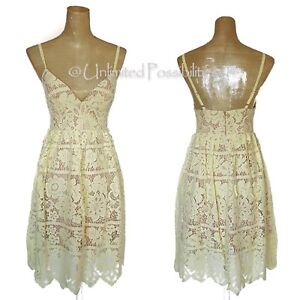 NEW-DOTTI-Lemonade-Skater-Lace-Dress-Yellow-over-Nude-Various-Sizes-with-Tags