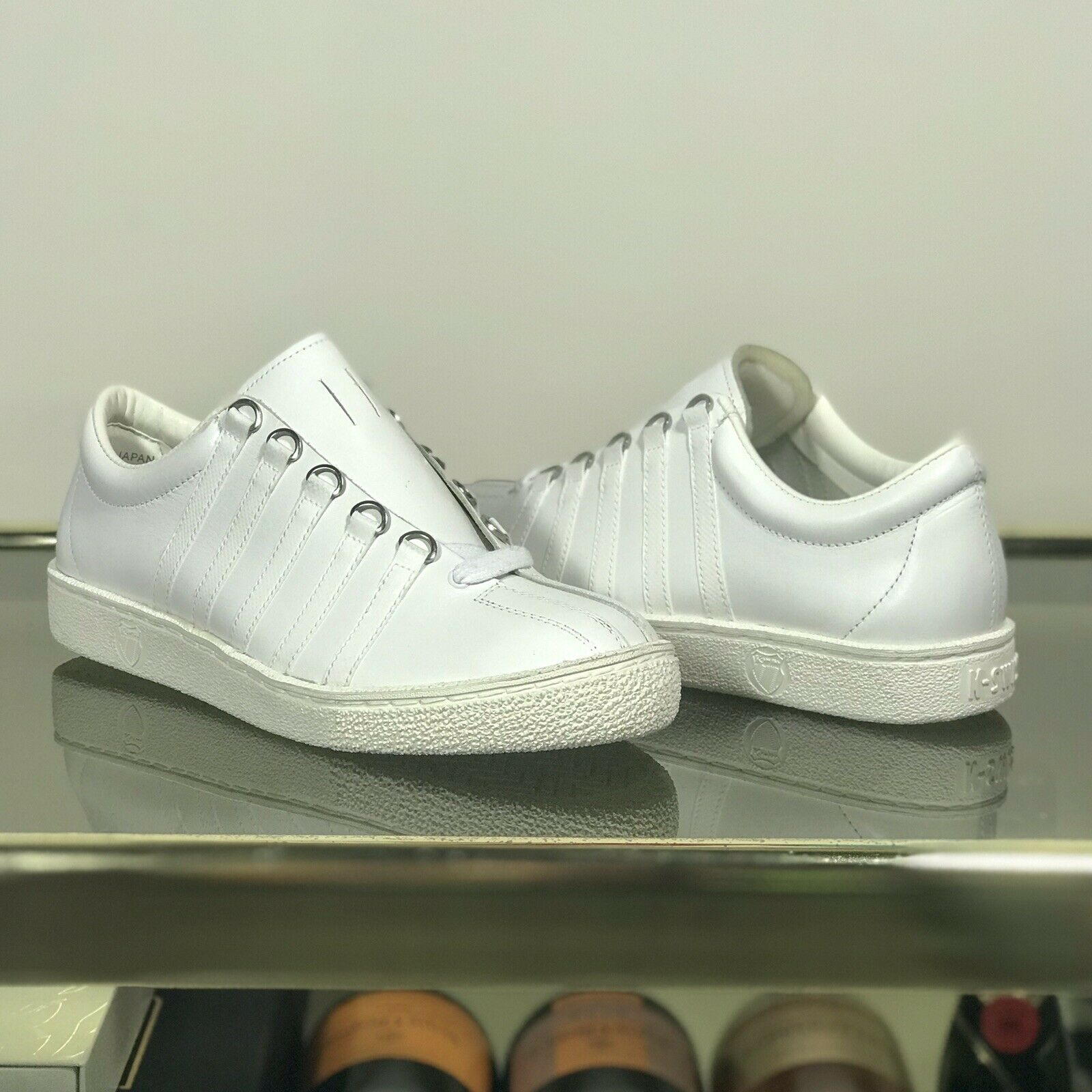RARE DS NEW SZ 6 US 24 CM K SWISS CLASSIC 66 JPN LOW LEATHER WHITE MADE IN JAPAN