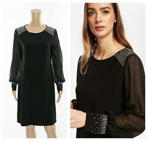 ex-Wallis-Long-Sleeve-Jewell-Embellished-Swing-Dress
