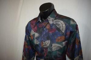 22988-Mens-Neiman-Marcus-Vintage-90-039-s-Graphic-Dress-Shirt-Sz-Large