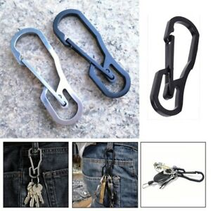 Stainless-Steel-Climbing-Carabiner-Key-Ring-Hook-Camping-Clip-Keychain-Holder