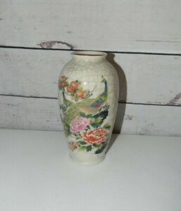Vintage-Shaddy-Mino-China-Crackle-Bud-Vase-Peacock-And-Flowers-Gold-Trim-Japan