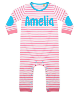 Personalised Name Baby Suit Stripy Babygrow Bodysuit Baby Clothes Pink