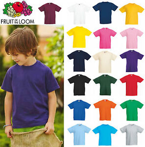 T-Shirt-Bimbo-Bambino-unisex-Fruit-Of-The-Loom-Maglietta-manica-corta-Bambina