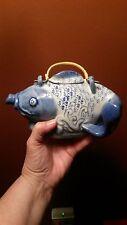 CERAMIC BLUE CARP KOI FISH TEAPOT TEA POT
