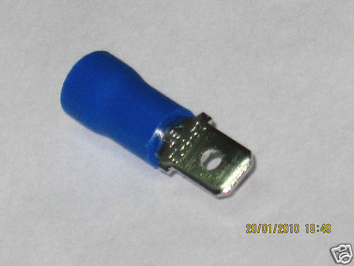 10x cable zapatos azul 1,5-2,5mm² conector plano nuevo 4,8mm