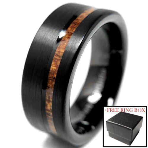 Tungsten Carbide Black Brushed Ring Wedding Band Koa Wood Inlay Comfort Fit Men