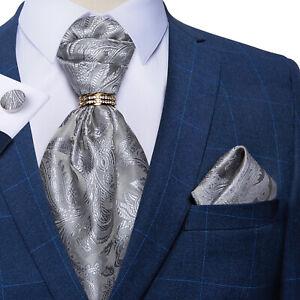 Mens Silk Bow Tie Ascot Gray Paisley Bowtie Cravat Pocket Sqaure Cufflinks Set