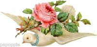 Fabric Block Chic Shabby Pink Roses Dove Vintage Victorian Cottage Chic