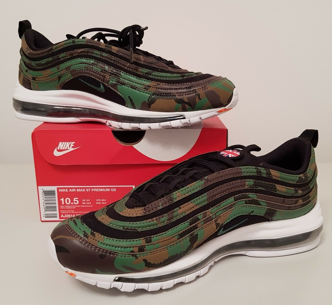 BNIB Hommes Nike Air Max 97 Premium QS Country Camo 'UK'. UK