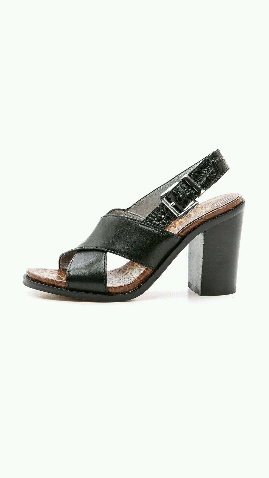 Sam Edelman Ivy nero Leather Sandal Crisscross Slingback Chunky Heel Dimensione 9.5