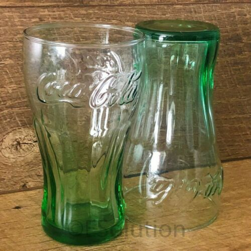 """Coke Glass Genuine Coca-Cola Green Large 6/"""" Tall Glasses Cup Vintage 17 OZ NEW"""