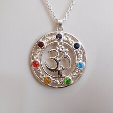 Bohemian Yoga Energy OHM AUM OM 7 Chakra Pendant on 18 Inch Chain C70