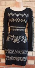 LELY WOOD BLACK STUDDED STUDS BEADED TRIBAL AZTEC JUMPER BODYCON DRESS S M