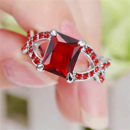 Taille 7 Rectangle Rouge Zircon Anneau Femmes 18KT Or Blanc Rempli Anneaux Mariage