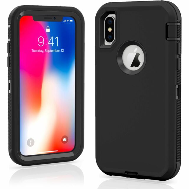 iPhone xs max 7/8 PLUS XR Defender Case Impact Hard Rugged without Otterbox Clip