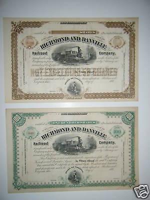 Richmond and Danville Railroad Company Stock Certificate Virginia