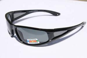 8505297cd29 Image is loading Men-Fishing-Sunglasses-Polarized-Black-Cycle-Driving-Wrap-