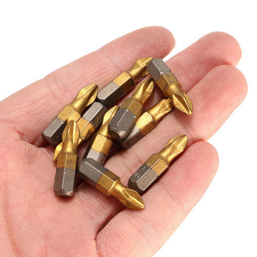 "10X 1//4/"" Titanium Coated Anti Slip Hex Shank PH2 Screwdriver Bit Drill Bits 25mm"