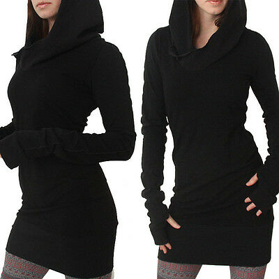 Women Long Sleeve Casual Sport Hoodies Hooded Tops Jumper Pullover Mini Dress