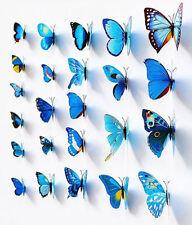 12Pcs DIY 3D Butterfly Wall Sticker Decal Home Decor Decoration Art Room Blue
