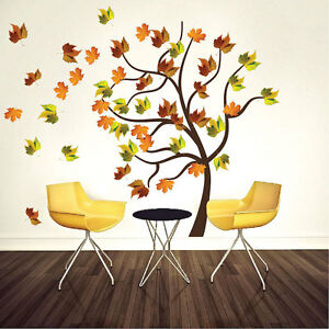 Autumn Tree Wall Decal Mural Plant Vinyl Realistic Leaves Trees - Wall decals leaves